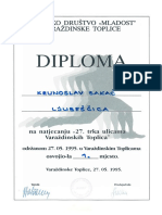 Diploma, 1. Mjesto Na Natjecanju 27 Trka Ulica Varaždinskih Toplica 1995.