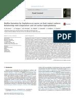 Formacion de Biofilm en superficies de contacto con los alimentos