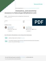 Simulation, Optimization, And Sensitivity Analysis of a Natural Gas Dehydration Unit