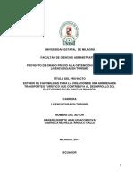 Estudio de Factibilidad Para La Creación de Una Empresa de Transportes Turístico Que Contribuya Al Desarrollo Del Ecoturismo e