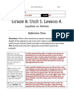 yossi moff - unit 1  lesson 4 - 8th grade - reflection  loyalists vs patriots