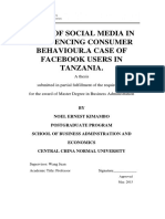 ROLE OF SOCIAL MEDIA IN INFLUENCING CONSUMER BEHAVIOR. A CASE OF FACEBOOK USERS IN TANZANIA.