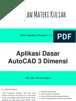 Aplikasi Dasar AutoCAD 3D