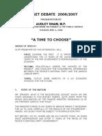 Budget Debate 2006-2007...Audley Shaw