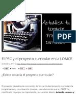 El PEC y El Proyecto Curricular en La LOMCE