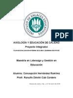 PLAN DE EVALUACIÓN INTERNA. PROYECTO INTEGRADOR.  AXIOLOGÍA Y EDUCACIÓN DE CALIDAD