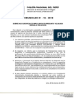 COMUNICADO PNP N° 16 - 2018