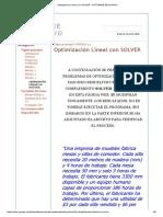 Optimización Lineal Con Solver - Software Educativo
