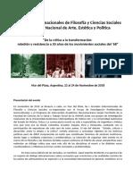 II Jornadas Internacionales de Filosofía y Ciencias Sociales - I Coloquio Estetica 2018 - Circular Provisoria