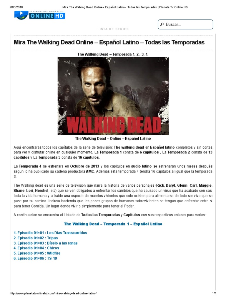 Mira The Walking Dead Online Español Latino Todas Las Temporadas Planeta Tv Online Hd The Walking Dead Serie De Tv Episodios De Televisión