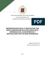 Representación Social o Abstracción Una Breve Comparación en Su Influencia en El Aprendizaje de Las Matemáticas y Metodologías Para Un Buen Aprendizaje
