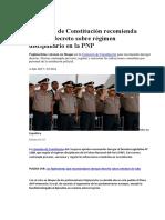 Comentarios y Recomiendaciones Por Derogatoria Del DL Sobre Régimen Disciplinario en La PNP
