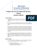 Problem Set-Cost of Capital and Decision Criteria