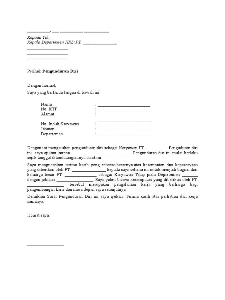 Contoh Surat Pengunduran Diri Kerja Di Puskesmas ...