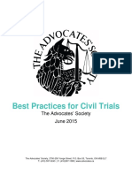 Advocates Society Best Practices Civil Trials