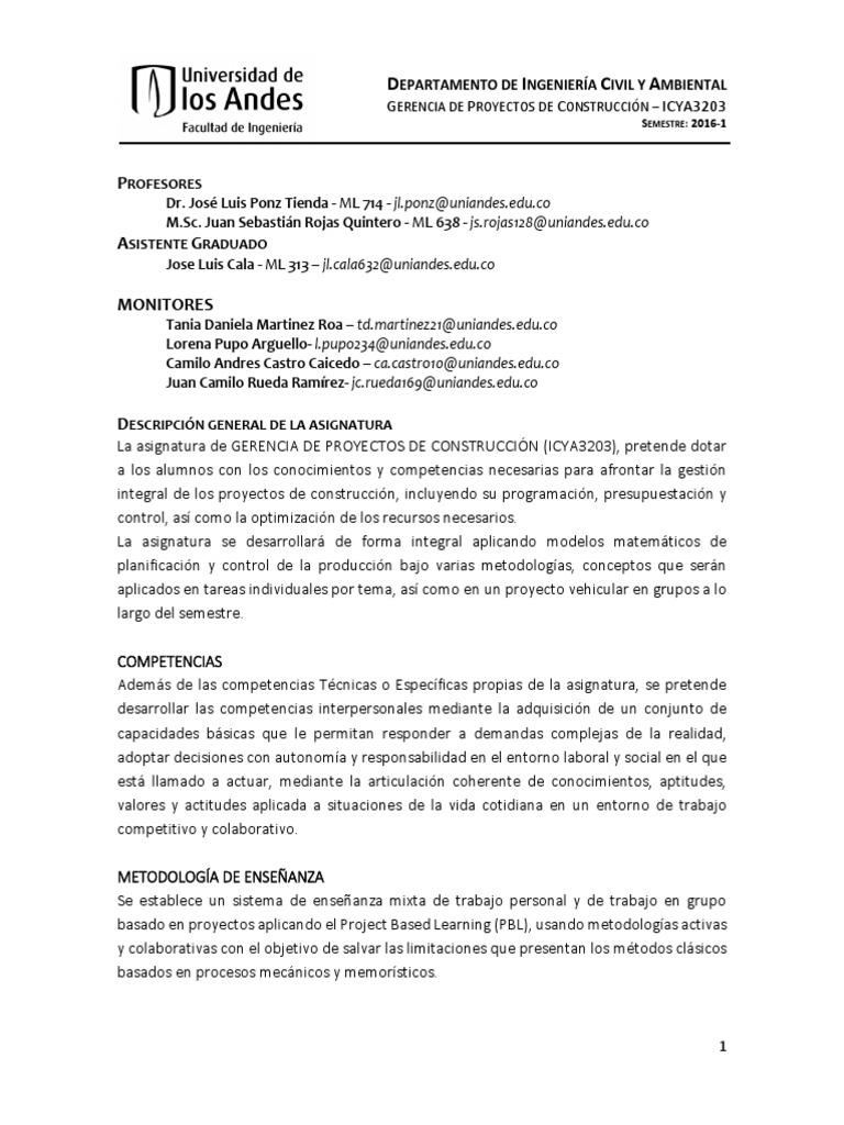 Programa 2016 1 Gerencia uniandes