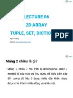 Lecture06 2D Array Tuple Set Dictionary-V2