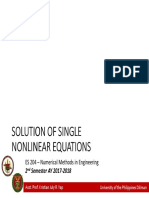 Week 01 - Solution of Single Nonlinear Equations