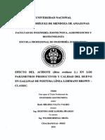 Efecto Del Achiote (Bixa Orellana L.) en Los Parámetros Productivos y Calidad Del Huevo en Gallinas de Postura Línea Lohmann Brown- Classic