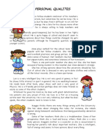 Personal Qualities Reading Comprehension Exercises