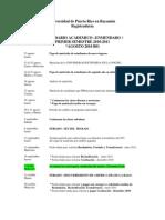 Calendario Académico Enmendado 3, Primer Semestre 2010-2011