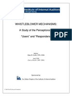 Whistleblower Mechanisms -A Study of the Perceptions of Users and Responders - Dallas