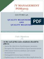 QM - Lecture 9a-1 - Quality Measurements, Quality Measures (1)