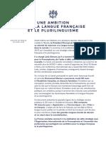 Langue française, plurilinguisme et plan francophonie