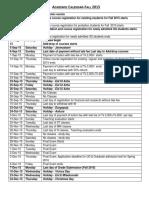 Academic Calendar-Fall 2018