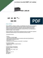 Amplificador Con Divisor de Señal HDMI