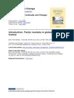 Van Bavel, De Moor, Van Zanden 2009 Introduction- Factor Markets in Global Economic History