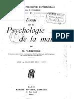 Nicolas Vaschide - Essai sur La Psychologie de La Main