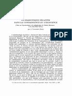 La Dialectique Negative Dans La Connaissance Et Lexistence