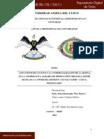 Costos y Comercializacion en La Cooperativa de Quinua Organica
