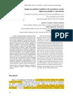 As Práticas Da Psicologia Nas Políticas Públicas de Assistência Social, Segurança Pública e Juventude.