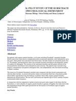 A Longitudinal Pilot Study of the Rorschach as a Neuropsychological Instrument