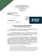 Motion to Suspend Arraignment sample