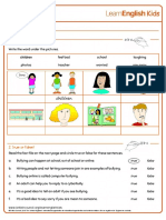Reading Practice Say No to Bullying Worksheet