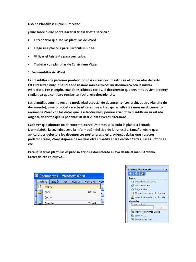 Excelente Escribiendo Un Currículum En Microsoft Word Patrón ...