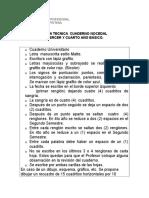 Ficha Tecnica de Cuadernos de Caligrafia 3 y 4 Basico