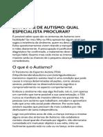 Sintomas de Autismo Qual Especialista Procurar - Entendendo Autismo