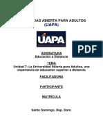 Tarea Unidad VII Educacion a Distancia uapa