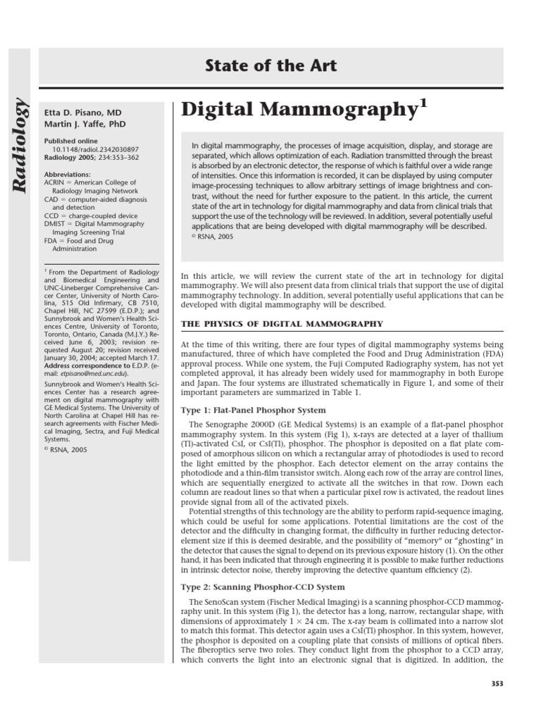 Digital Mamografia | Mammography | Charge Coupled Device