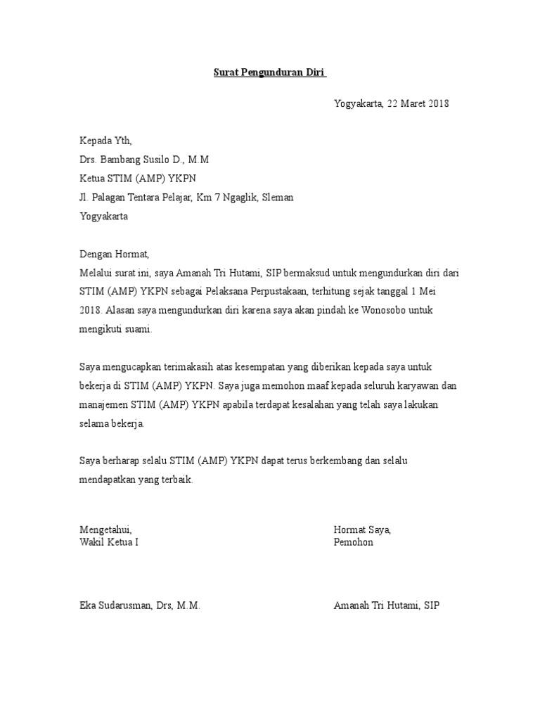 Contoh Surat Pengunduran Diri Ptn - Kumpulan Contoh Surat ...