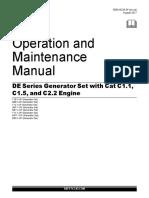 OMM SEBU9236-5 DE Series Generator Set with Cat C1.1, C1.5, and C2.2 Engine Caterpillar