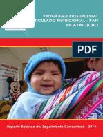 Programa Presupuestal Articulado Nutricional Pan Ayacucho - Reporte Balance Del Seguimiento Concertado 2014