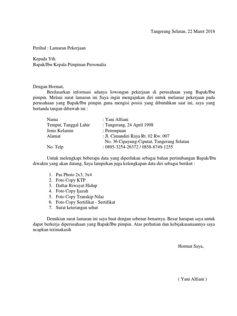 Contoh Surat Lamaran Kerja Indomaret Tangerang Id Lif Co Id