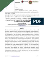 Motivational Factors, Facilitators, Obstacles and Gender Differences an Exploratory Study of Thai Entrepreneurs 17 Mar 18