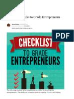 55 Point Checklist to Grade Entrepreneurs
