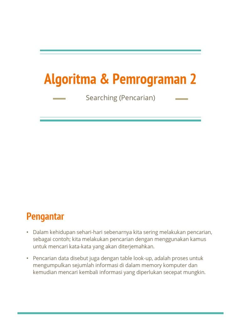 Algoritma Pemrograman Searching